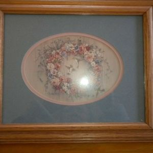 Wooden Framed Floral Wreath Picture with Glass